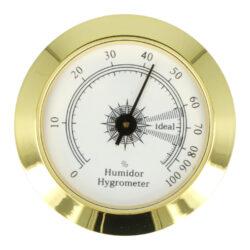 Vlhkoměr Angelo, 50mm zlatý-Standardní vlhkoměr do humidoru. Vhodný do menších a středních humidorů. Kulatý vlhkoměr s lesklým zlatým povrchem se uchytí vložením do otvoru v humidoru.   Vnější průměr: 50 mm Vnitřní průměr: 47 mm