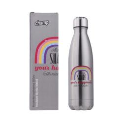Champ Bottle Rainbow, 500ml-Praktická tepelně izolovaná láhev na pití Champ udržující požadovanou teplotu. Uzavíratelná termo láhev je vhodná na cvičení, běh, běžnou turistiku nebo třeba na kolo či dětem do školy. Objem láhve 500 ml.