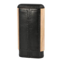 Pouzdro na 3 doutníky Wood, kožené, černé, 135mm(93007)