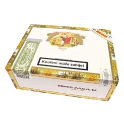 Doutníky Romeo y Julieta No.2 A/T, 25ks-Kubánské doutníky Romeo y Julieta No.2 A/T. Nejprodávanější velikost doutníků této známé značky, to jsou doutníky No.2 A/T. Vůní výrazný doutník s komplexní chutí a jemným krytím, to jsou ručně vyráběné doutníky Romeo y Julieta z vybraných tabákových listů, díky kterým mají výbornou chuť a vůni. Doba hoření je cca 45-75 minut. Doutníky jsou balené po 25 ks v hliníkových tubách a v originální cedrové krabici Romeo y Julieta. Prodávají se pouze po celém balení.  Délka: 129 mm Průměr: 16 mm Velikost prstýnku: 42 Tvar/velikost doutníku: Petit Corona/Mareva Typ doutníku dle skladování: doutník vlhký  Původ doutníku: Kuba Krycí list: Kuba  Vázací list: Kuba  Náplň: Kuba  Síla tabáku: medium