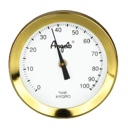 Vlhkoměr Angelo s magnetem, 52mm-Standardní vlhkoměr Angelo do humidoru. Pro uchycení do humidoru slouží magnet se samolepkou. Barva zlatá. Vnější průměr: 52 mm Vnitřní průměr pro vložení: 48 mm
