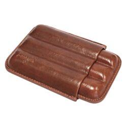 Pouzdro na 3 doutníky Etue, hnědé, kožené, 140mm-Etue - pouzdro na tři doutníky. Hnědé pouzdro na doutníky je dlouhé 140mm, průměr 21mm. Doutníkové pouzdro je kožené.
