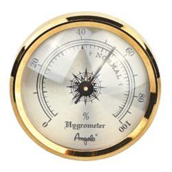 Vlhkoměr Angelo na suchý zip, 44mm-Standardní vlhkoměr do humidoru značky Angelo. Vlhkoměr je v humidoru uchycený na suchý zip a je vhodný do menších humidorů. Provedení: zlaté/lesklé.  Vnější průměr: 44 mm Vnitřní průměr pro vložení: 38 mm
