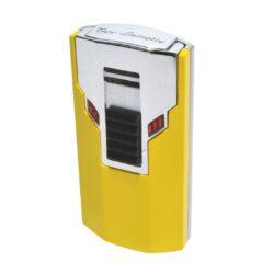Tryskový zapalovač Lamborghini Estremo, žlutý-Elegantní tryskový zapalovač Tonino Lamborghini Estremo. Kvalitně zpracovaný zapalovač obsahuje na spodní straně nastavení intenzity plamene a ventil pro plnění. Na zadní straně najdete okénko, kde je možné vidět hladinu plynu v zapalovači. Tryskový zapalovač je dodáván v kožené krabičce vyložené jemným sametem. Ideální jako dárek pro kuřáky cigaret. Výška 7cm.