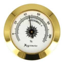 Vlhkoměr Angelo se suchým zipem, 50mm-Standardní vlhkoměr Angelo do humidoru. Pro uchycení do humidoru slouží suchý zip se samolepkami. Barva zlatá. Vnější průměr: 50 mm Vnitřní průměr pro vložení: 48 mm