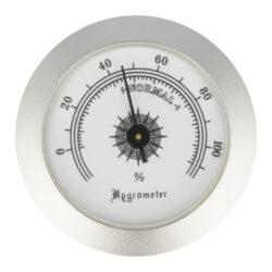 Vlhkoměr kulatý, 5cm-Standardní vlhkoměr Angelo do humidoru. Průměr 5 cm. Provedení chrom.