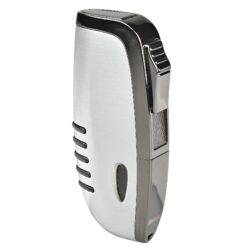 Zapalovač Hadson Elegance, broušený chrom, šedý-Tryskový zapalovač Hadson Elegance. Kvalitní kovový turbo zapalovač má povrch v broušeném chromovém provedení s kombinací prvků v gunmetalové úprave. Při stisku tlačítka se horní kryt odklopí a dojde k zapálení trysky. Ve spodní části zapalovače najdeme plnící ventil plynu a ovládání intenzity plamene. Zapalovač je dodáván v originální dárkové krabičce. Výška 7,2cm.