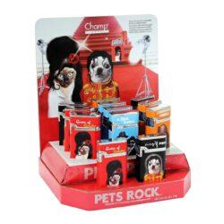 Zapalovač Champ Pets Rock-Kovový plynový zapalovač. Zapalovač je plnitelný. Výška zapalovače 5cm. Při nákupu celého balení (12ks), je dodáván stojánek z kartonu. Cena je uvedena za 1 ks.