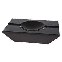 Doutníkový popelník křišťálový, černý-Doutníkový popelník na dva doutníky, křišťálový. Popelník na doutníky má rozměry 20x13cm.
