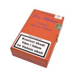 Doutníky Don Stefano Corona Special Edition, 10ks-Doutníky Don Stefano Corona Special Edition vyrobené v Německu. Doutníky jsou dodávané v dřevěné krabičce po 10 ks. Délka 130mm, průměr 17mm. Odběr po celém balení.  Krycí list: Ecuador Vázací list: Německo(Pfalz) Náplň: Kuba