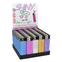 Zapalovač Prof Piezo Shiny-Plynový zapalovač s třpytivým efektem. Zapalovač je plnitelný. Prodej pouze po celém balení (displej) 50 ks.