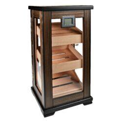 Humidor na doutníky Gastro 75D, stolní-Stolní humidor na doutníky, uzamykatelný s kapacitou cca 75 doutníků. Dodáván s digitálním vlhkoměrem, 2x zvlhčovačem. Rozměr: 43x23x21 cm.