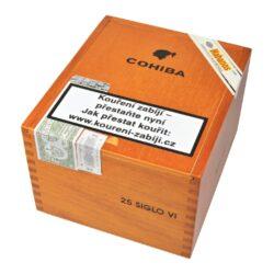 Doutníky Cohiba Siglo VI, 25ks-Kubánské doutníky Cohiba Siglo VI. Jeden z nejprodávanějších typů doutníků značky Cohiba, který se dostal na trh během roku 2003. Doutník Siglo VI. voní typickou kubánskou vůní. Jeho výrazná nasládlá chuť po třtinovém cukru s lehkou příchutí vanilky je velmi příjemná. Dle hodnocení je SIGLO VI. jeden z nejlepších doutníků, který značka Cohiba nabízí. Doba hoření cca 80 min. Doutníky jsou balené po 25 ks v dřevěné krabici s logem Cohiba a prodávají se pouze po celém balení.  Délka: 146 mm Průměr: 20,6 mm Velikost prstýnku: 52 Tvar/velikost doutníku: Toro Typ doutníku dle skladování: doutník vlhký  Původ doutníku: Kuba Krycí list: Kuba Vázací list: Kuba Náplň: Kuba  Hodnocení doutníku Cohiba Siglo VI.: 19. místo s 92 body ze 100 v odborném magazínu Cigar Aficionado v hodnocení Top 25 Cigars of 2018 19. místo s 93 body ze 100 v odborném magazínu Cigar Aficionado v hodnocení Top 25 Cigars of 2016