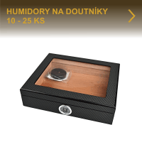 Humidory na doutníky. Kvalitní stolní humidory na 10 až 25 doutníků nabízíme v různých designech a provedení již od 600 Kč. Humidor vyložený cedrovým dřevem je vybavený vlhkoměrem a zvlhčovačem. Velký výběr, skladem.